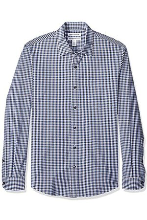 Amazon Slim-Fit Long-Sleeve Gingham Shirt Camisa abotonada, Blue/Black