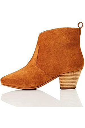 FIND Leather Casual Western Botines, Caramel