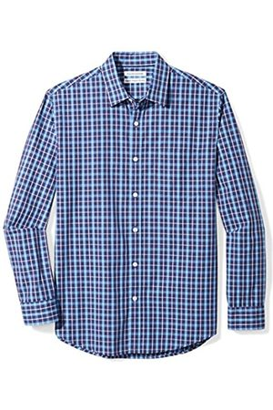Amazon Long-Sleeve Plaid Shirt Camisa, (Navy)