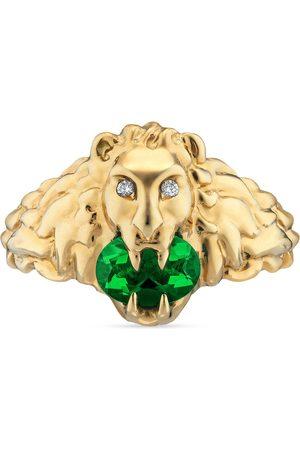 Gucci Anillos - Anillo 18 K con cabeza de león diópsido cromo