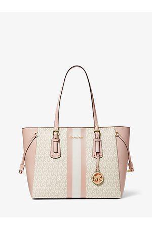 Michael Kors Mujer Bolsos shopper y tote - MKBolso tote Voyager mediano con rayas y logotipo - Vanilla/soft Pink - Michael Kors