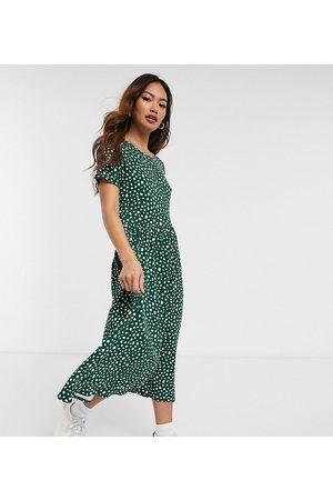 Wednesday's Girl Mujer Casual - Vestido midi amplio con estampado de lunares borrosos de -Verde