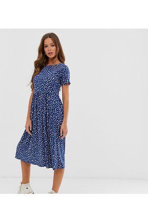 Wednesday's Girl Vestido midi amplio con estampado de lunares borrosos de -Azul marino