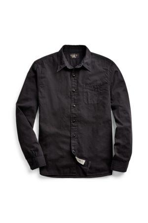 RRL Camisa de trabajo de sarga teñida en prenda