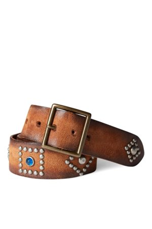 RRL Cinturón de piel envejecido con tachuelas