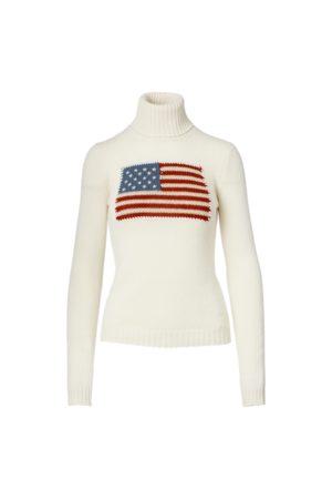 Ralph Lauren Suéter de la bandera con cuello vuelto en cachemira
