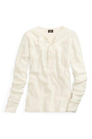RRL Camiseta Henley ajustada de algodón de punto waffle