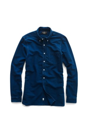 RRL Hombre Casual - Camisa Oxford de algodón índigo
