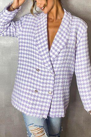 Boohoo Blazer Tejido De Pata De Gallo Con Botonadura Doble Boxy, Purple