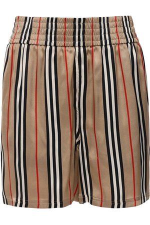 Burberry | Mujer Shorts De Sarga De Seda Con Estampado 4