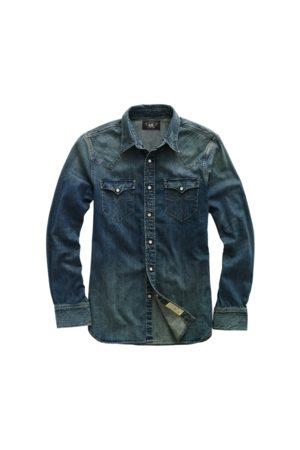 RRL Hombre Casual - Camisa Western Buffalo índigo