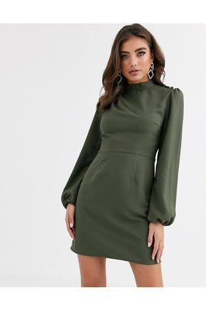 ASOS Mujer Cuello alto y Halter - Vestido corto de cuello alto con mangas largas en color caqui de -Verde