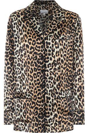 Ganni Camisa de pijama de satén de seda