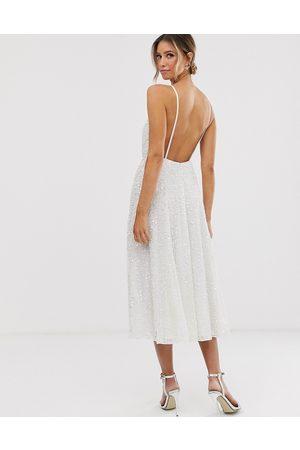 ASOS Vestido de novia midi de tirantes con adornos Eva de -Blanco