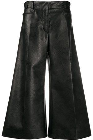 Stella McCartney Mujer Pantalones de cuero - Pantalones anchos de piel artificial