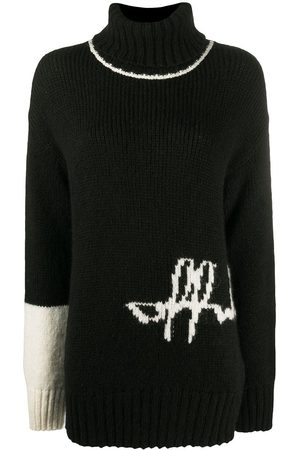 OFF-WHITE LOGO INTARSIO TURTLE NECK BLACK WHITE