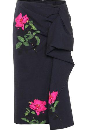 DRIES VAN NOTEN Falda de lana floral drapeada
