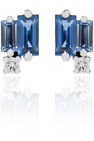 Suzanne Kalan Pendientes en oro blanco de 18kt con zafiro y diamante
