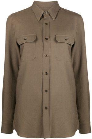 Saint Laurent Camisa oversize con bolsillos con solapa