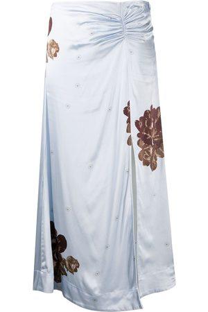 Ganni Falda floral con detalle fruncido