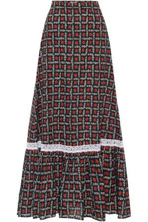 Miu Miu Falda midi de algodón floral