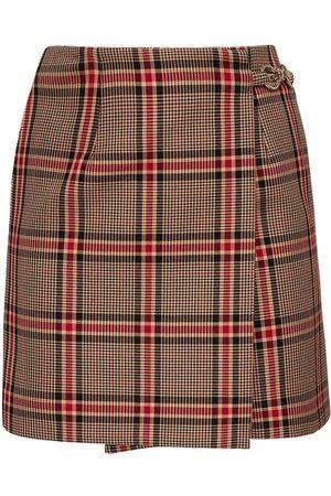 Rokh   Mujer Mini Falda De Mezcla De Algodón A Cuadros /negro/rojo 34