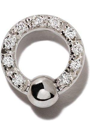 DELFINA DELETTREZ Pendiente Two In One en oro blanco de 18kt con diamantes