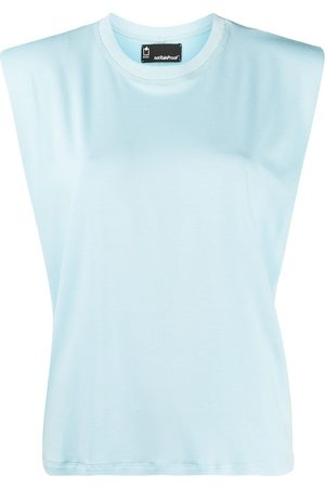 Styland Mujer Tops - Top sin mangas con hombros acolchados