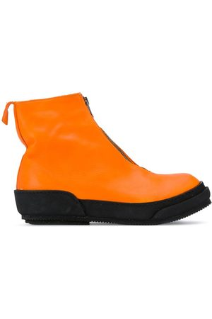 GUIDI Color-block front-zip boots