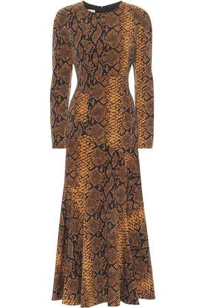 DRIES VAN NOTEN Vestido midi de lana print de serpiente