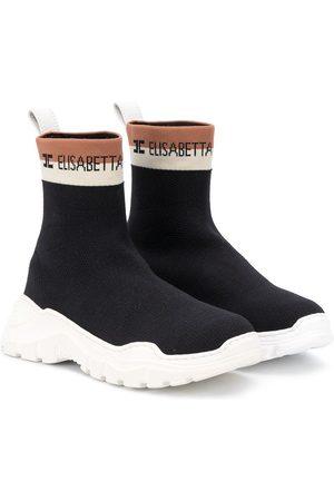 Elisabetta Franchi La Mia Bambina Zapatillas tipo calcetín con banda del logo