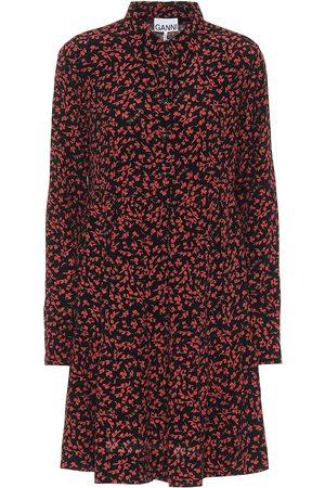 Ganni Vestido camisero de crepé floral