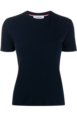 Thom Browne Camiseta de manga corta y detalle de canalé