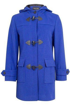 De la creme Mujer Abrigos de paño - Abrigo Bata de invierno de cachemir con capucha de lana para mujer