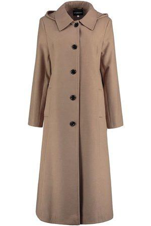 De la creme Gabardina Abrigo de invierno largo desmontable para mujer con capucha. para mujer