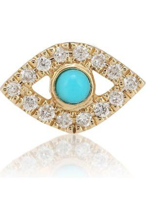 Sydney Evan Arete único de oro amarillo de 14 ct, turquesa y diamantes Small Evil Eye