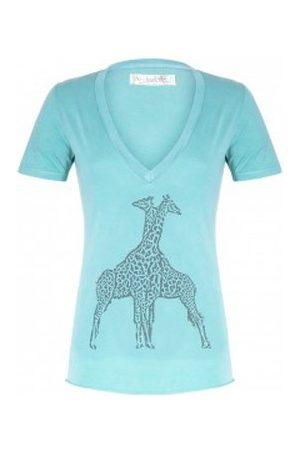 So Charlotte Camiseta V neck short sleeves Giraffe T00-91-80 Vert para mujer