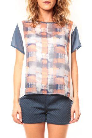 Coquelicot Camiseta T-shirt CQTW14321 Blanc/Bleu para mujer