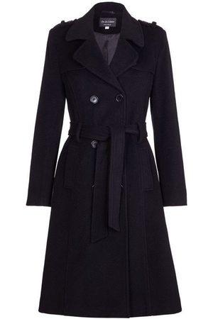 De la creme Gabardina Gabardina de lana y cachemir con cinturón de invierno para mujer
