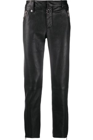 Alexander McQueen Lamb skin straight leg trousers