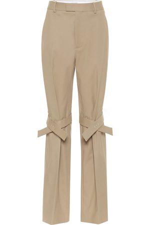 Bottega Veneta Pantalones de algodón de tiro alto