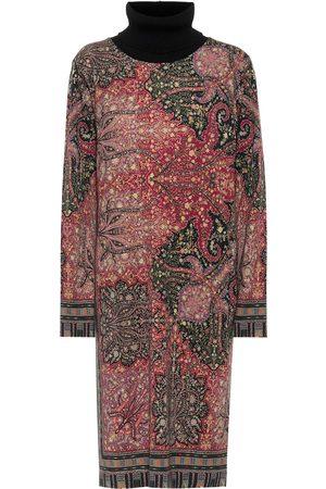 Etro Vestido midi de lana print paisley