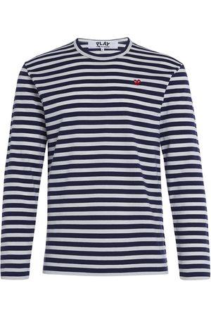 Comme des Garçons Camiseta manga larga Jersey Play by Comme des Garçons de rayas blancas y azul para hombre
