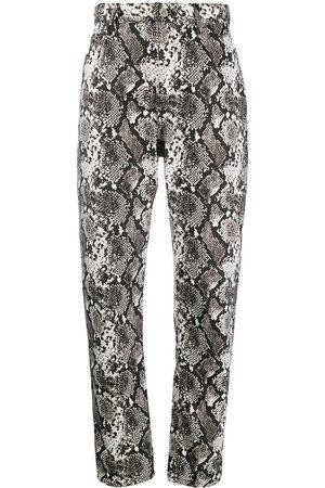 The Attico Mujer Pantalones de cuero - Pantalones con estampado de piel de serpiente