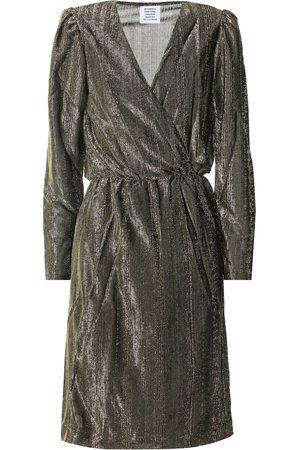 Vetements Vestido wrap metalizado