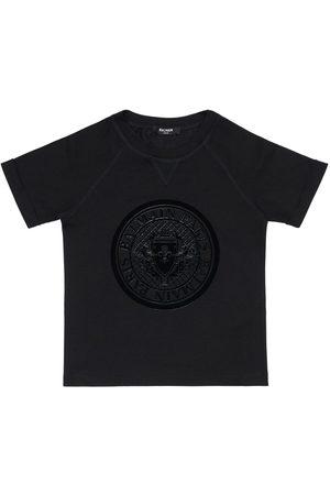 Balmain | Niña Camiseta De Jersey De Algodón Logo Estampado 8a