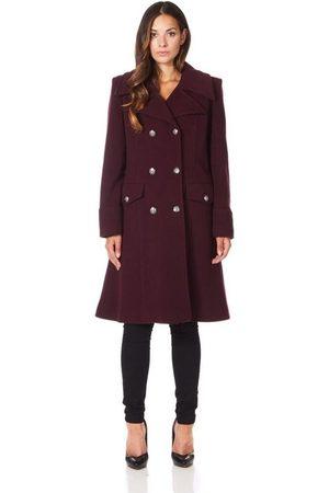 De la creme Abrigo Abrigo de invierno de lana de cachemira militar para mujer