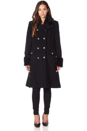 De la creme Abrigo Cuello de piel de abrigo de invierno de lana de cachemira para mujer