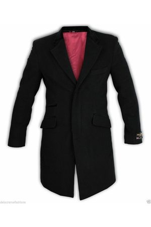 De la creme Abrigo Abrigo con ribete de terciopelo de lana y cachemira para hombre
