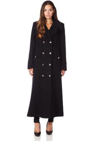 De la creme Abrigo Cuello de abrigo de invierno de lana de cachemira militar para mujer